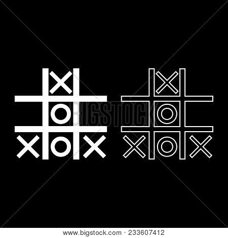 Tic Tac Toe Game Icon Set White Color Vector Illustration Flat Style Simple Image