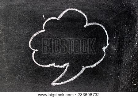White Chalk Hand Drawing In Cloud Bubble Speech Shape With Blank Space On Blackboard Background