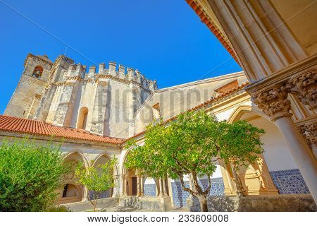 Tomar, Portugal - August 10, 2017: Claustro Do Cemiterio Near Charola Of Templar Castle In Tomar On