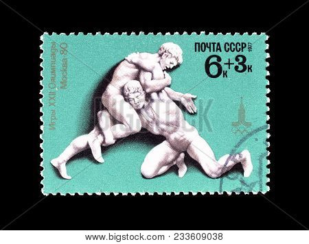 Soviet Union - Circa 1977 : Cancelled Postage Stamp Printed By Soviet Union, That Shows Wrestling.