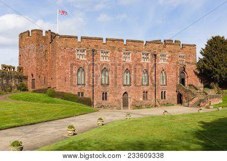 Shrewsbury United Kingdom - March 21 2018: Shrewsbury Castle Built In Red Sandstone By Edward The Fi