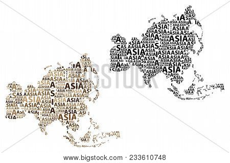 Sketch Asia Letter Text Continent, Asia Word - In The Shape Of The Continent, Map Of Continent Asia