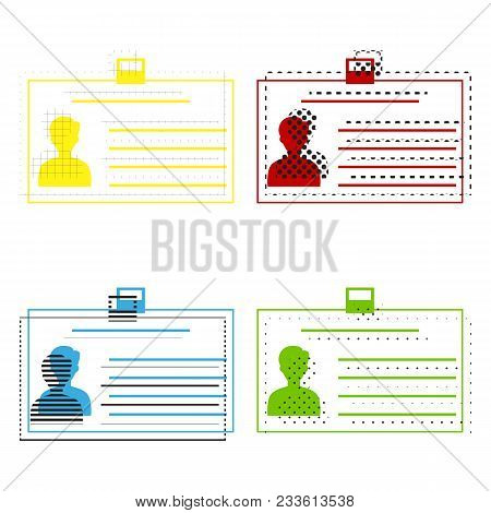 Identification Card Sign. Vector. Yellow, Red, Blue, Green Icons With Their Black Texture At White B