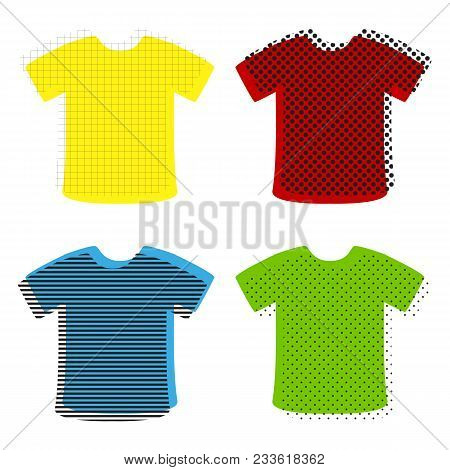T-shirt Sign. Vector. Yellow, Red, Blue, Green Icons With Their Black Texture At White Background.