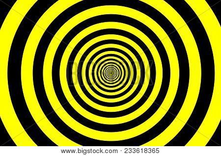 Concentric Circle Elements Pattern, Black And Yellow Color Ring, Circle Spin Target,