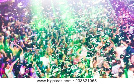 Blurred Defocused Background Of Concert Festival Event With Dj Playing After Party Music - Entertain