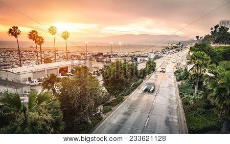 Aerial Panoramic View Of Ocean Ave Freeway In Santa Monica Beach At Sunset - City Streets Of Los Ang