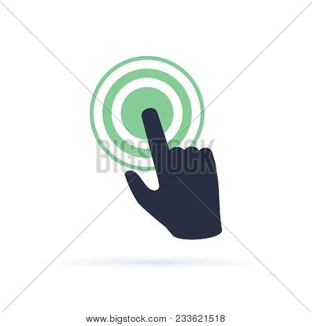 Black Hand Pushing On Green Button. Concept Of New Fast Start Up Symbol Or Forefinger Hit Or Tap On