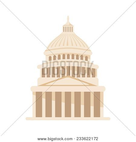 Vector Building Illustration. United States Capitol Icon In Washington Dc. American Sightseen Histor