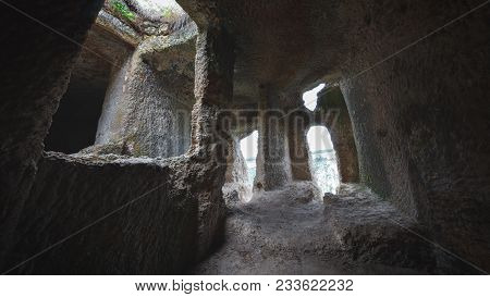 Interior Of A Medieval Cave Stone Dwelling, Crimea, Russia