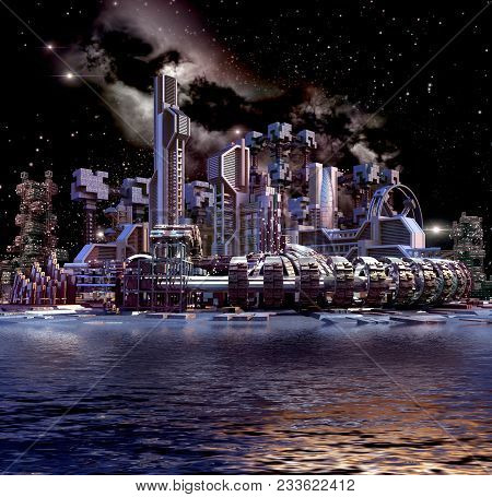 3d Illustration Of A Nightscape Futuristic City, With Modular Architecture, Water Floating Transport