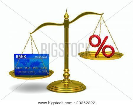 credit card and percent on scales. Isolated 3D image
