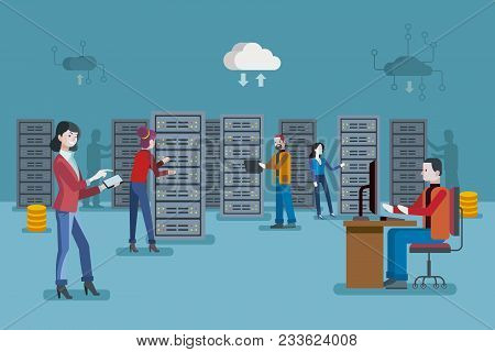 Female It Specialist And A Team Of Servers Technician In Datacenter. Network Server Room.