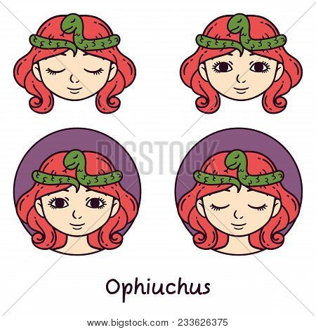 Ophiuchus Astrology Sign. 13 Sign Astrology. Set Of Horoscope Signs As Women. Zodiac For Girls. Vect