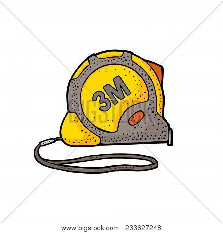 Tape Measure. Hand Drawn In A Graphic Style. Vintage Vector Color Engraving Illustration For Info Gr