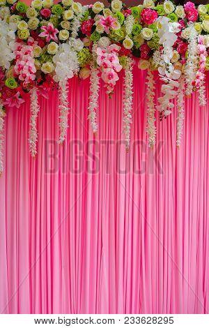 Beautiful Flowers In Vase On Wedding Ceremony, Copy Space. Wedding Flowers. Wedding Ceremony Decorat