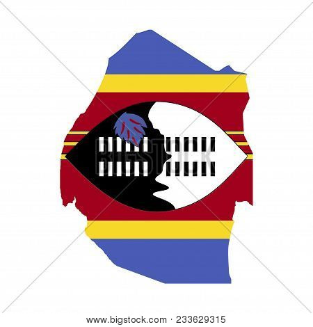 Territory And Flag Of Swaziland. White Background. Vector Illustration