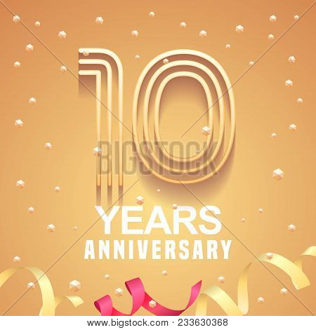 10 Years Anniversary Vector Icon, Logo. Graphic Design Element With Golden Numbers And Festive Backg