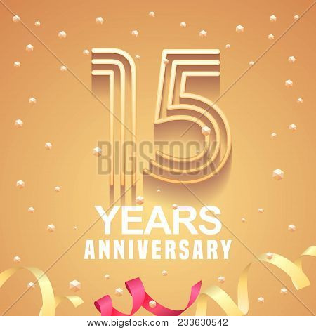 15 Years Anniversary Vector Icon, Logo. Graphic Design Element With Golden Numbers And Festive Backg
