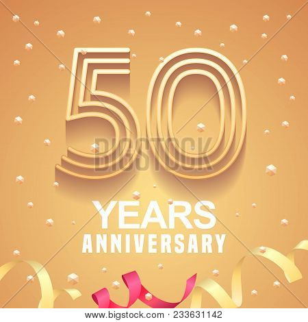 50 Years Anniversary Vector Icon, Logo. Graphic Design Element With Golden Numbers And Festive Backg