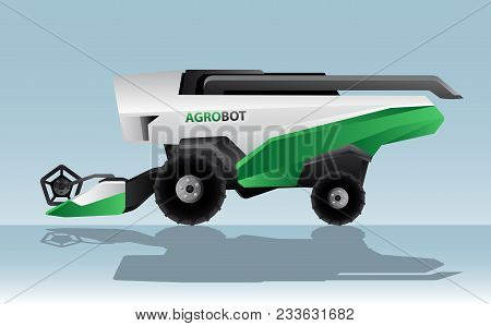 Autonomous Combine Harvester. Agrobot. Vector Illustration Eps 10