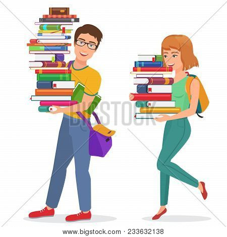 Vector Knowledge Education Illustration With Guy And Girl Students Carrying Large Stack Of Books. Ma
