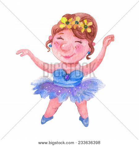 Hand Drawn Watercolor Cute Sweet Ballerina Is Dancing Llustrations Isolated Collection Of Drawing Fo