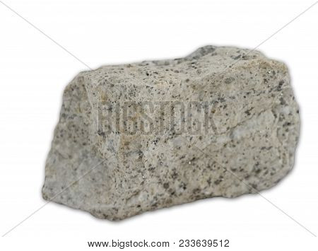 View At Granite Magmatic Rock Isolated On The White Background