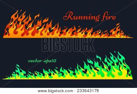 Running Fire Horizontal Planks. Flaming Bars, Old School Flame Elements, Isolated Vector Illustratio