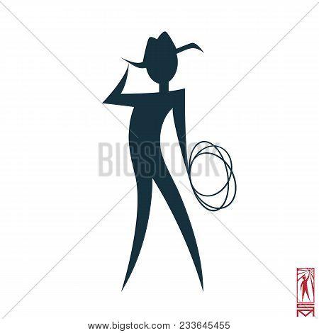 Man Person Basic Body Position Stick Figure Icon Silhouette Vector Sign,cowboy, Hero, Macho, Cowboy