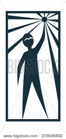 Man Person Basic Body Position Stick Figure Icon Silhouette Vector Sign,logo, The North Star, Promet