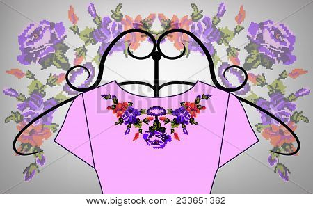 Female Pink Dress On Hanger. Collar. Color Bouquet Of Wildflowers (lilia, Roses). Embroidery. Pixel