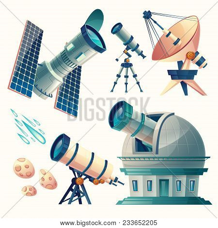 Vector Cartoon Astronomy Set. Astronomical Telescopes - Radio, Orbital. Planetarium, Observatory, Sa