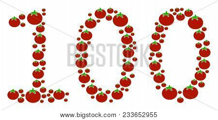 100 Text Mosaic Of Tomato In Various Sizes. Vector Tomatoes Elements Are Composed Into 100 Text Illu