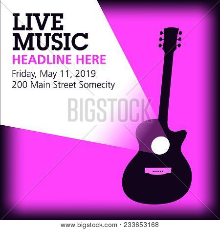 Cool Live Acoustic Guitar Show Graphic With Space For Text In Light Beam. Use As Guitar Event Design