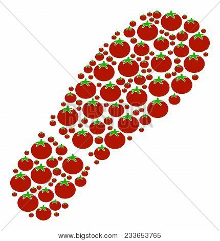Boot Footprint Collage Of Tomatoes In Various Sizes. Vector Tomato Vegetable Items Are Composed Into