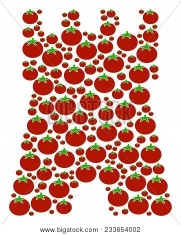 Bulwark Tower Mosaic Of Tomato Vegetables In Different Sizes. Vector Tomato Vegetable Symbols Are Co
