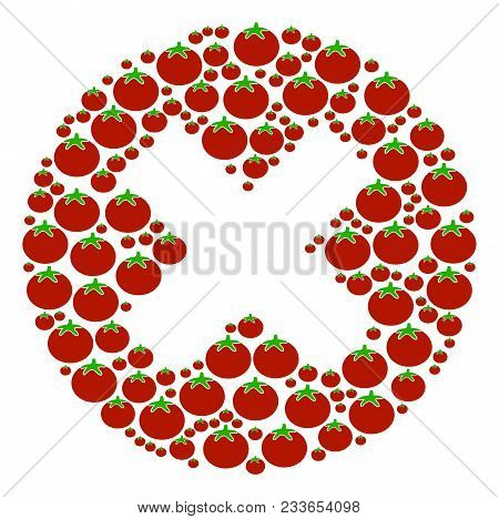 Cancel Mosaic Of Tomato In Various Sizes. Vector Tomato Items Are Combined Into Cancel Illustration.