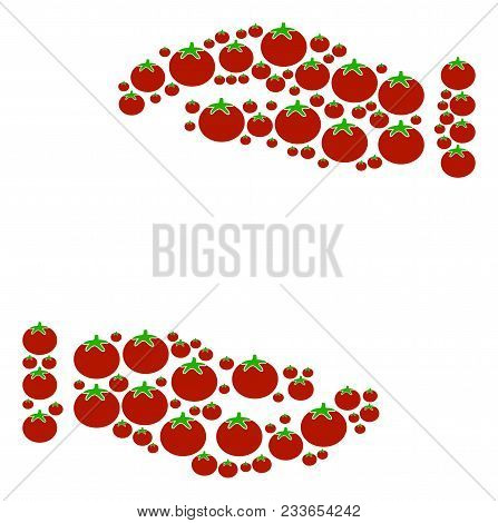Care Hands Collage Of Tomatoes In Various Sizes. Vector Tomatoes Symbols Are Composed Into Care Hand