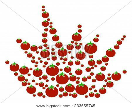 Explosion Boom Composition Of Tomato Vegetables In Different Sizes. Vector Tomato Vegetable Symbols