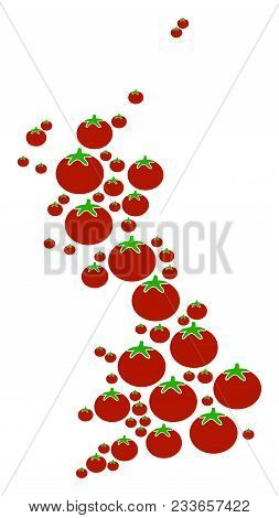 Great Britain Map Collage Of Tomato In Different Sizes. Vector Tomato Vegetable Symbols Are Organize