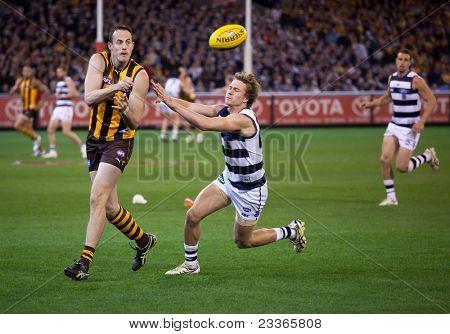 MELBOURNE - SEPTEMBER 9 : David Hale (L) handballs during Geelong's win over Hawthorn - September 9, 2011 in Melbourne, Australia.