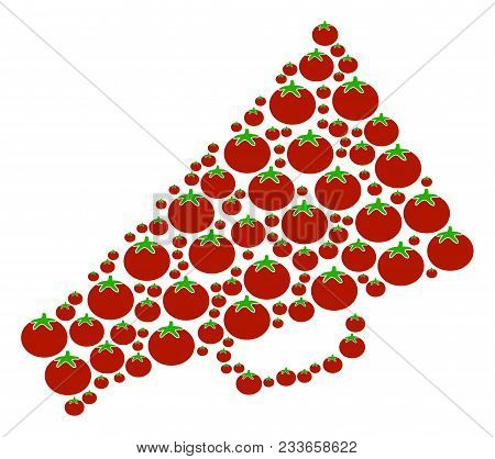 Megaphone Composition Of Tomato In Different Sizes. Vector Tomato Elements Are Organized Into Megaph