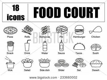 Food Court Set Of Icons, Line, Vector. Delivery Of Food, Menu Site
