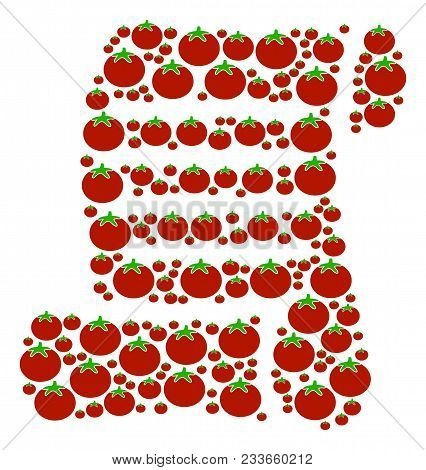 Script Roll Composition Of Tomatoes In Various Sizes. Vector Tomato Items Are United Into Script Rol