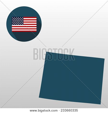 U.s. State On The U.s. Map Wyoming On A White Background. American Flag