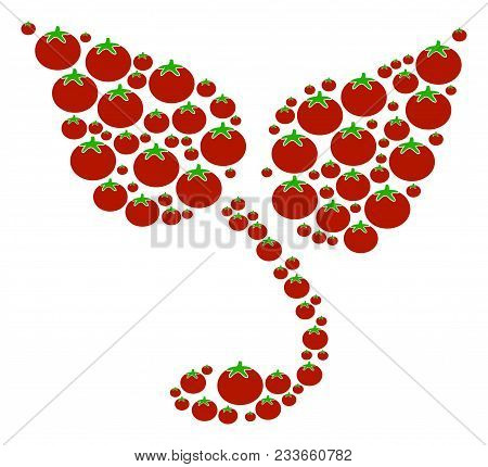 Sprout Collage Of Tomato Vegetables In Variable Sizes. Vector Tomato Symbols Are Grouped Into Sprout