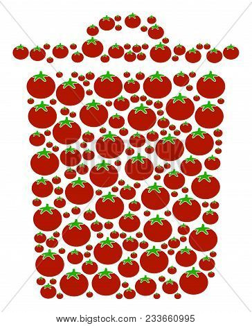 Trash Bin Collage Of Tomatoes In Different Sizes. Vector Tomato Elements Are Composed Into Trash Bin
