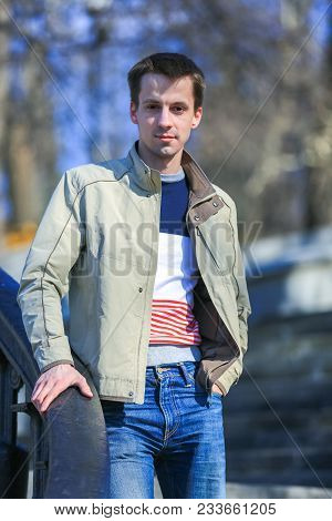 Cute Russian Guy In The Early Spring In The Park