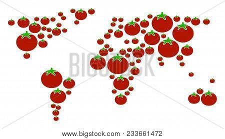 World Map Collage Of Tomato In Variable Sizes. Vector Tomato Vegetable Elements Are Grouped Into Wor